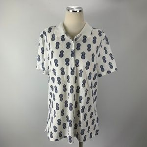 Kim Rogers Large Pineapple Polo Shirt White Navy